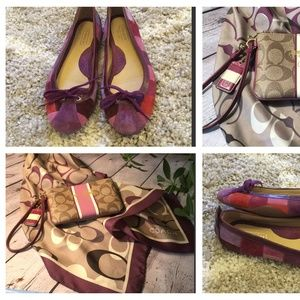 Coach scarf, ballet flats, and wristlet